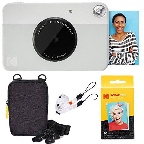 Kodak pacchetto base per fotocamera istantanea printomatic (grigio) + carta zink (20 fogli) + custodia deluxe + comoda tracolla