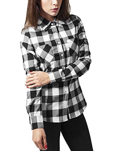 Urban Classics TB388 Damen Hemd Ladies Checked Flanell Shirt, Gr. 38 (Herstellergröße: M), Mehrfarbig (blk/wht 50)