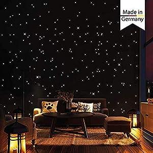 Wandtattoo-Loft 350 Leuchtpunkte und Leuchtsterne für Sternenhimmel - selbstklebend und fluoreszierend - Extra Starke Leuchtkraft