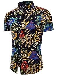 Crazy Sales AIMEE7 Homme Chemises Grande Taille Chic Été Chemises  Hawaiennes à Manche Courtes Décontracté Chemises 85df3edbf72