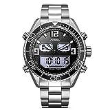 Reloj De Cuarzo Para Hombres Reloj De Acero Inoxidable Correa De Tiempo Pantalla Doble Coconano Marca Reloj Gran Dial De Los Hombres Españoles