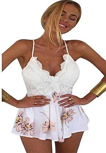 ♪ZEZKT♪Straps Halter Crochet Playsuits Summer Beach Jumpsuits Romper Rückenfreies V-Ausschnitt Overall Oberteile Bluse badeanzug Trägerlos Gedruckt Overall Jumpsuit Sommer Kurze Hose (M, Weiß) (V-ausschnitt Tief Top Halter)