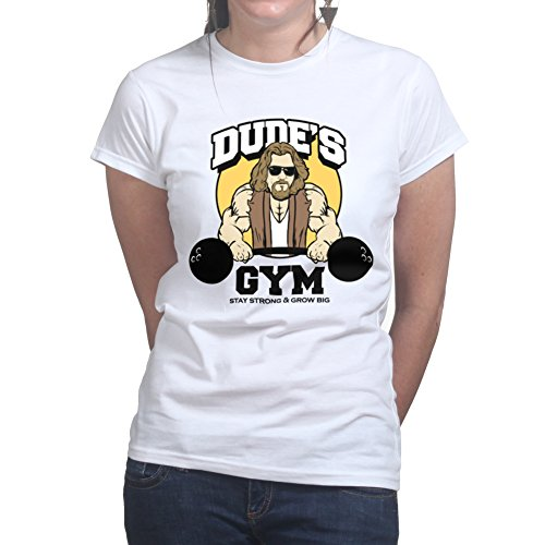 Dude Gym Big Muscle Fitness Running Training Ladies T shirt Weiß