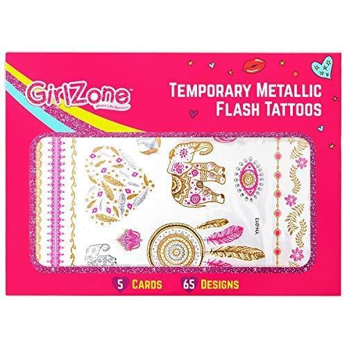 GirlZone: Hypoallergen Glitzertattoo 65er Set - Temporäre Flash Tattoos & Hauttattoo - Temporätattoos - Mädchen Geschenke für Party - Kit für Körperkunst