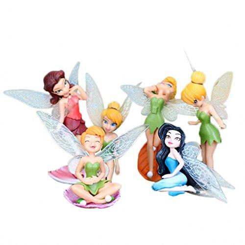 Pack de 6 PCS miniatura Hada de la flor de las muchachas muebles del Dollhouse Accesorios