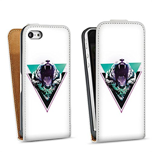 Apple iPhone 5s Housse Étui Protection Coque Tigre des neiges Triangle Triangle Sac Downflip blanc