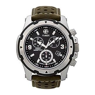 Timex Expedition Sierra T49626 – Reloj cronógrafo de caballero de cuarzo con correa de piel verde
