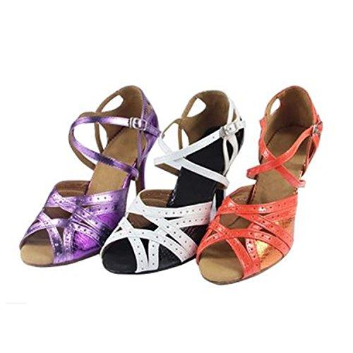 Yff Cadeau Femmes Chaussures De Danse Latin Danse De Salon Tango Chaussures De Danse 7.5cm 8.5cm Orange