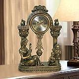 Standuhren Europäische antike Bronze Kleine Schaukel Sitz Glocke Paar Schreibtisch Uhr kreative Glocke Glocke Hall stumm stumm Tischuhr (Farbe : A)