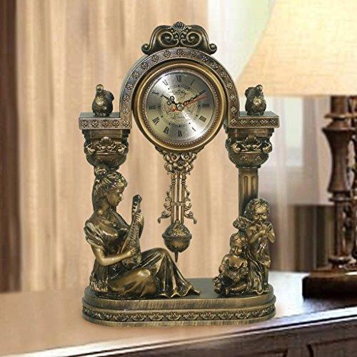 Standuhren Europäische Antike Bronze Kleine Schaukel Sitz Glocke Paar Schreibtisch Uhr Kreative...