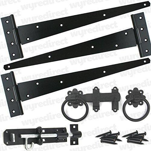 Puerta para montaje de bacas 45,72 cm juego de bisagras Brenton perno en forma de anillo con puerta de madera negro