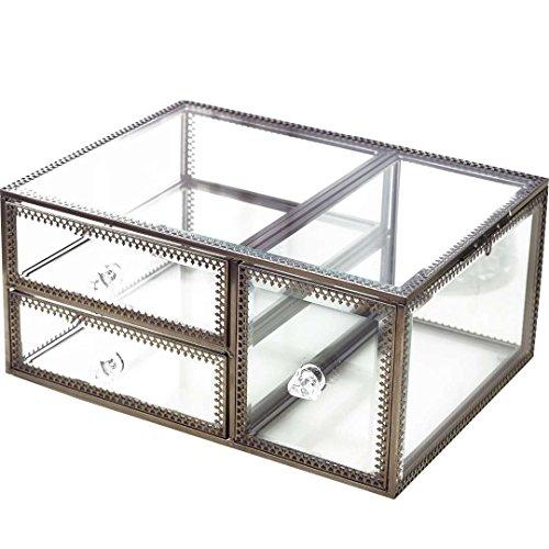 Antique Spacieux Verre Organiseur de tiroir Commode Cosmétique de stockage de boîte à bijoux d'affichage clair Lot d'accessoires de salle de bain pour meuble/collier/boucles d'oreille (Laiton)