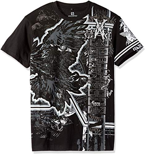 Southpole Herren Short Sleeve Graphic Tee Collection T-Shirt, Black Eagle, Klein -