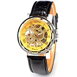 Transparent Skeleton Mens Boys Gold Leather Stainless Sport Mechanical Wristwatch