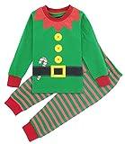 Mombebe Bambino Natale Costume Pigiama Elfo Bimbo Inverno Abbigliamento Set (Elfo di Natale, 3 Anni)
