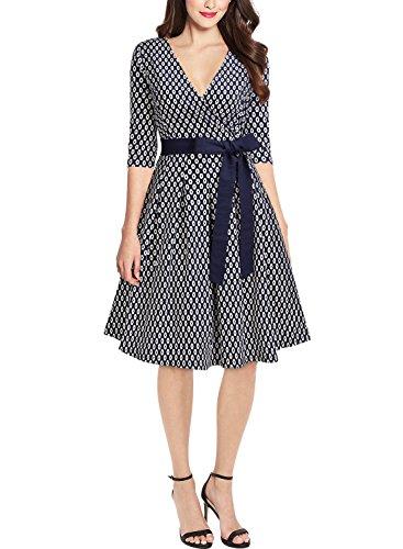 50er Jahre Retro Kleid Rockabilly V-Ausschnitt Cocktailkleid Partykleid Navy Blau - 2