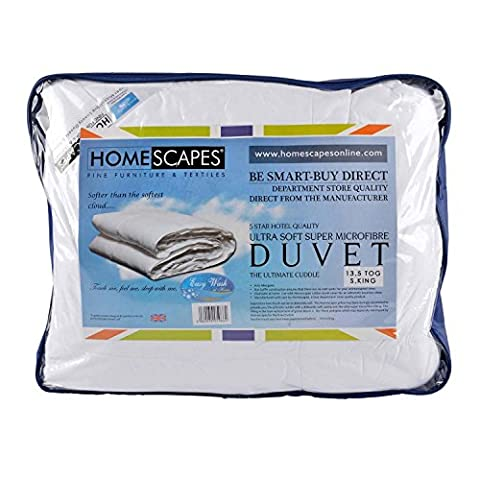 Homescapes - Ultrasoft Super Microfibre - 13.5 Tog - Super King Size - The Best Synthetic Duvets designed for And Used By The Best 5 and 7 Star Hotels From Around The World - Anti Allergy - Anti Dustmite - Box Baffel Construction - Washable at Home