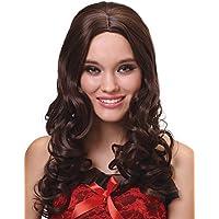 Parrucca deluxe castana lunga e ondulata per donna
