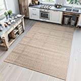 TAPISO Nature Tappeto Cucina Design Sala da Pranzo Moderno Beige Chiaro Geometrico Sisal Tappeto da Esterno 80 x 150 cm