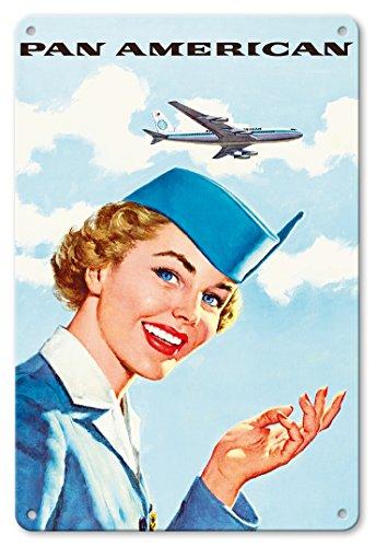 Metallschild - Pan American World Airways PAN AM Luftfahrt- Flug Stewardess - Vintage Retro Fluggesellschaft Reise Plakat c.1960s ()