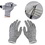 Schnittschutzhandschuhe, Lanking High Performance Level 5 Schutzsicherheitsarbeit Kitchen Proof Glove (Grey, L)