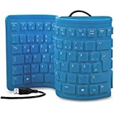 Plutofit® Portable Flexible Silicone Foldable Waterproof Wired USB Keyboard (Blue)