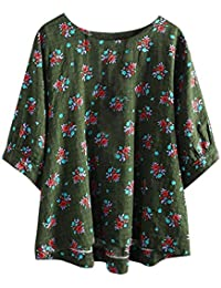 96d93b657b6ba2 Bluelucon Damen Bluse Vintage Blumen Oberteile Lose Baumwolle Tunika Tops  Hemdbluse T-Shirt Große Größe