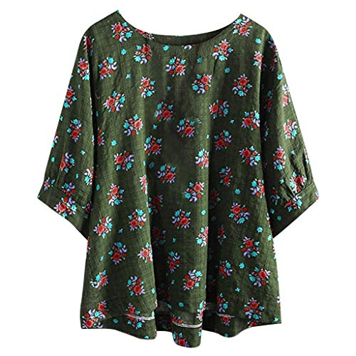 XNBZW Tops Womens Linen Shirts Vintage Boho Tops Tunic Sale 3/4 Long Sleeve Loose O Neck Casual Floral Print Pullover Plus Size Tops Tee T Shirt Blouse Nylon Coat Petite