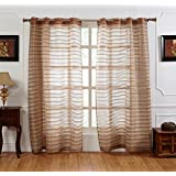 HOMEWARDS 100 % Polyester Sheer beige embroidered lace curtain panels