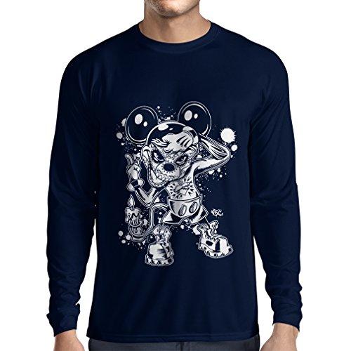 lepni.me Langarm Herren T Shirts Eine Maus mit Einem tollen Halloween-Party-Kostüm (X-Large Blau ()