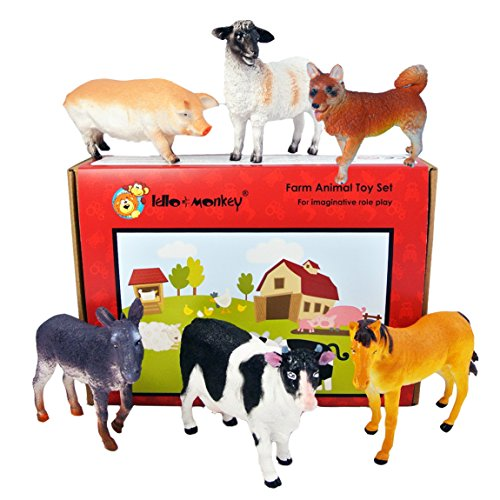 Lello and Monkey Animal Toy Plastic Animal Figures Game Box by 6