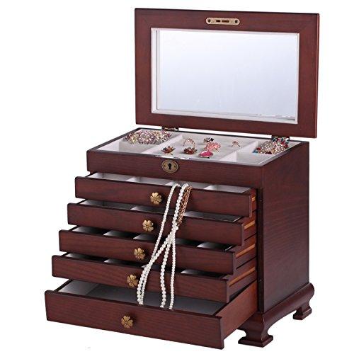 ROWLING Schmuckkasten Holz Schmuckkoffer schmuckschrank mit 5 Schubladen Schmuckkästchen Schatulle MG0160 (Braun)