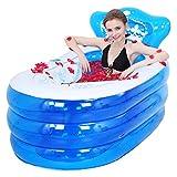 KKY-ENTER Épaissir PVC Pliant Gonflable Baignoire Portable Accueil Spa Baignoire Adulte Enfants Seau De Bain (Couleur : Blue, taille : 135*75*70cm)