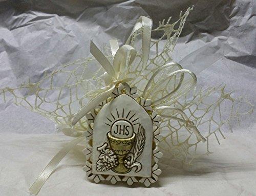 Sac bonbonnière Communion avec Icône symbole verre complet de 5 dragées amande et carte imprimé
