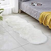 سجادة - سجادة أرضية من القطيفة لغرفة المعيشة وغرفة الأطفال فو فرو منطقة البساط سجادة صلبة ولينة شعث من جلد الغنم الصناعي MJ714 (أبيض 60 × 180 سم)