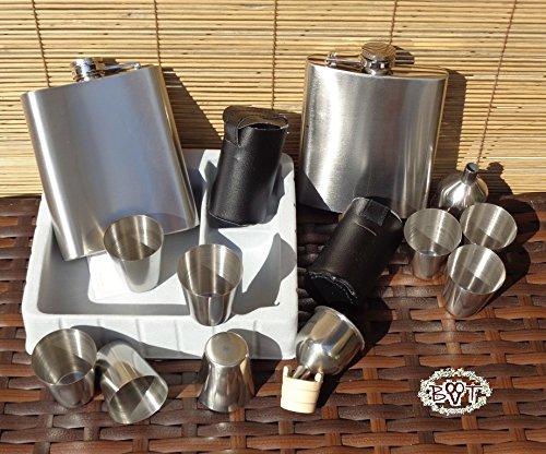 hmann Set Edelstahl + 8 Schnapsbecher mit 2 Trichter, aus Edelstahl und 2 Trichterhalter aus Holz - Holzbecher BTV, komplett mit 2 Gürteltaschen für 8 Becher ()