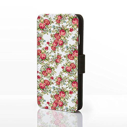 iCaseDesigner Étui à rabat en similicuir pour iPhone Motif floral Style shabby chic vintage, Cuir synthétique, Design 21: Pink and Blue Flowers on Navy Blue Background, iPhone 5C Design 6: Red Roses and Blue Flowers on White