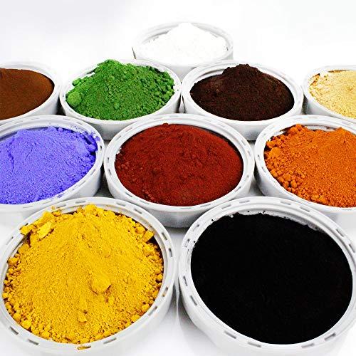 10 teiliges Proben Bastelset je 100g (24,85€/kg) Pigmentpulver Eisenoxid Oxidfarbe Farbpigmente Trockenfarbe für Beton Gips Knetbeton - schwarz rot gelb weiß braun grün blau ocker orange hellbraun