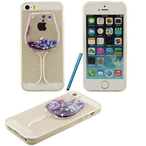 Fließfähige Flüssigkeit Phosphor-Sterne-Weinglas Hartplastik Schutzhülle case für Apple iPhone 5 5S 5G Hülle mit Touch-Screen-Stift blau