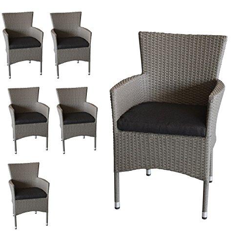 6x Polyrattan Sessel Stapelbar Rattansessel Grau Meliert Inklusive
