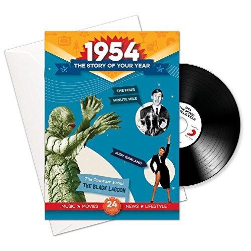 1954 cumpleaños o aniversario regalos - 1954 4-en-1 tarjeta y regalo - Historia de su Año, CD, Music Download - 15 Gráfico originales Canciones - Presente Retro Para Hombres y Mujeres