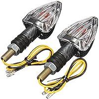 Wooya 2 x Moto Intermitentes Lámpara Moto Carbono Marcado E Flecha Mini Indicadores De Luz Bombilla 12V-Claro