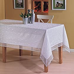 Mantel rectangular con acabado bordado (160 x 360 cm), color blanco