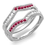DazzlingRock Collection  -  10 K  Weißgold Rundschliff   Getöntes Weiß/Top Cape (K) rot Diamant Rubis