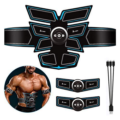 A-TION Electroestimulador Muscular Abdominales Recargable Profesional Masajeador Elctrico Cinturon para Hombre y Mujer, 6 Modos Simulacin 10 Niveles EMS Estimulador Muscular Ejercicio Fitness