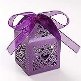 UNHO 25 Piezas Caja Papel para Boda Caja de Regalo para Caramelos Bombones Dulces Galletas Recuerdos Ideal para Boda Cumpleaños Fiesta Comunión Bautizo Color Púrpura