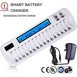 Chargeurs de Piles Rechargeable LCD Intelligent Chargeur pour 16 Universel AA AAA Ni-MH Ni-CD & 2 Bays 9V Li-ION NiMH Piles Rechargeables avec Adaptateur Secteur (CE UL GS Certificated)