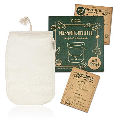 Lumaland Cuisine Nussmilchbeutel aus reinen Baumwollfasern für vegane Nussmilchherstellung inklusive Mandelmilch Rezept in nachhaltiger Verpackung Mandelmilch selber Machen Perfekter Milchersatz