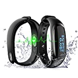 EJIKER Pressione sanguigna fitness tracker, cardiofrequenzimetro Activity Tracker impermeabile IP67 Bluetooth Wristband contapassi esercizio passo Sleep Tracker calorie Counter, nero