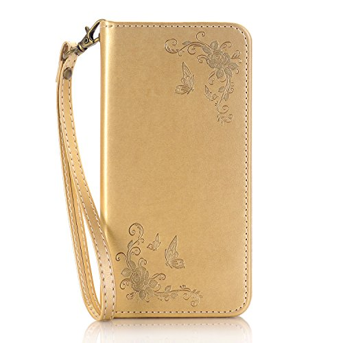 iPhone 6S Hülle,iPhone 6 Hülle,SainCat Apple iPhone 6/6S (4,7 Zoll) Leder Wallet Tasche Handyhülle [Diagonal Rose Muster] Ledertasche Brieftasche im BookStyle PU Leder Hülle Wallet Case Folio Rose Gol Diagonal Rose-Golden